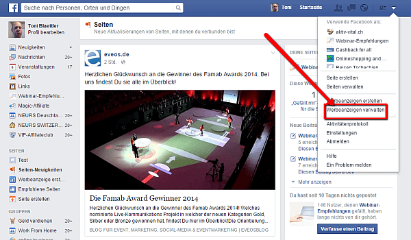 Facebook Werbeanzeigen verwalten kannst Du über diesen Link in Deinem Facebook Profil