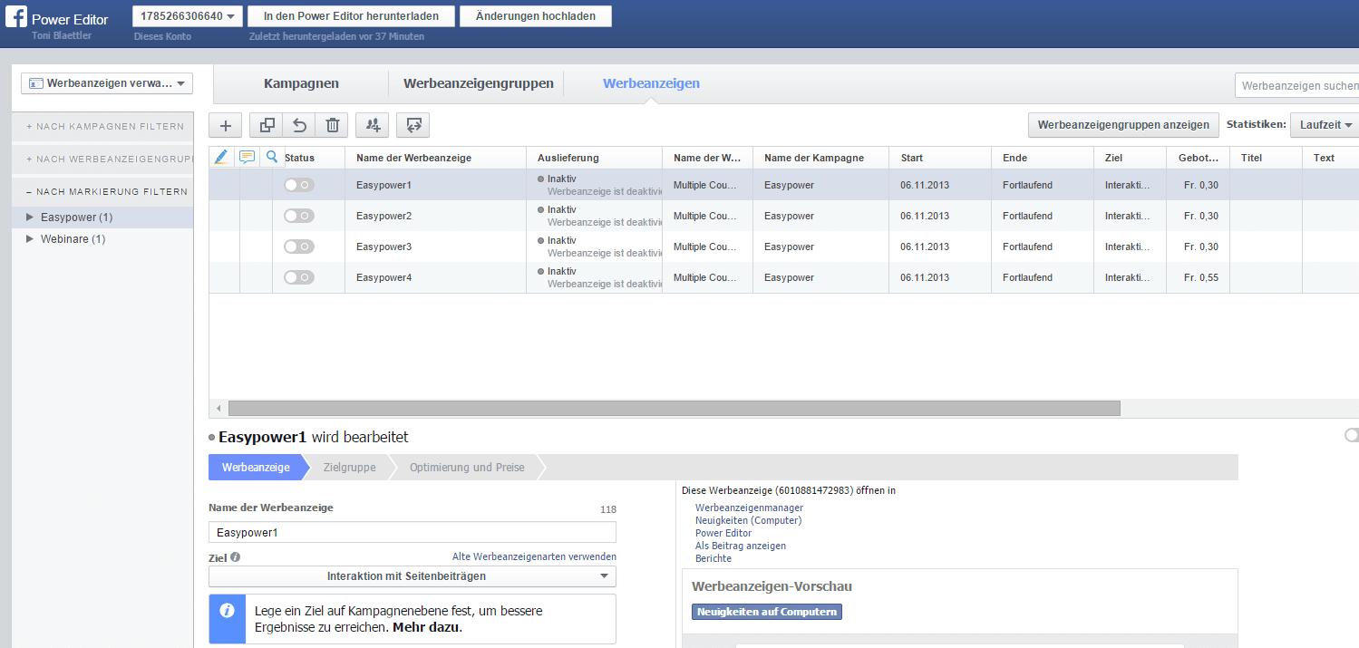 Facebook Anzeigenverwaltung mit dem Power Editor