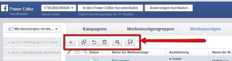 Der Power Editor stellt verschiedene Werkzeuge zur Bearbeitung von Facebook Werbung zur Verfügung