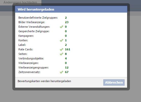 Sofort lädt dann der Power Editor alles von Facebook herunter