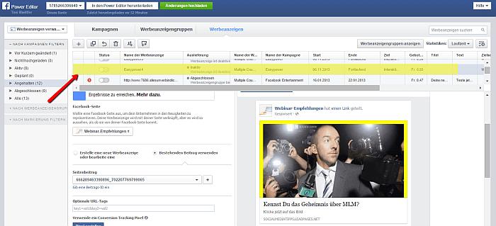 Mit dem Power Editor hast Du vielfältige Möglichkeiten, Deine Facebook Werbung zu bearbeiten
