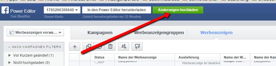 Nach dem Bearbeiten müsse wieder alle Dateien aus dem Power Editor zu Facebook hochgeladen werden