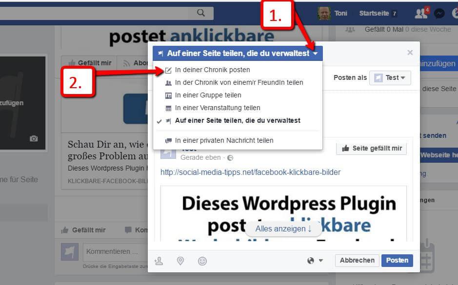 Facebook Post auf_einer_Seite teilen, die Du verwaltest, 2. Schritt