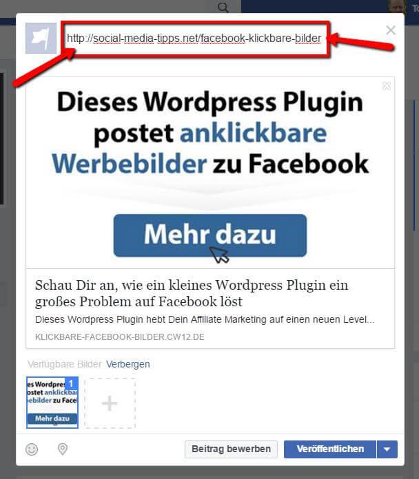 Klickbare Facebook Bilder, das ist der erste Schritt