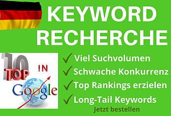 Deutschsprachige Keywordrecherchen, Keyword-Analysen, Lontail Keywords